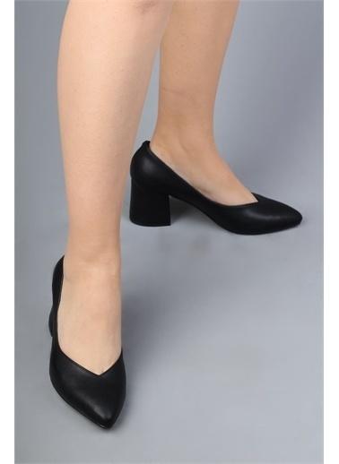 Modabuymus Modabuymus Kalın Topuklu Dekolte Stiletto Ayakkabı  Harlab Siyah